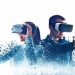 A_man_and_a_woman_in_glasses_of_virtual_reality._The_concept_of_modern_technologies_and_technologies_of_the_future._Fragmented_by_pixels._VR_glasses.