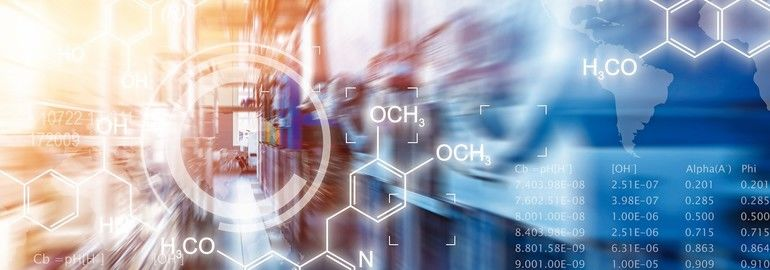 Creative_abstract_chemical_scientific_background_illustration_with_chemistry_formula_and_atom_structure_against_chemical_factory_plant_interior_with_industrial_manufacturing_equipment_with_motion_blur_effect