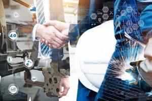 Cyber_communication_and_robotic_trend_,_Industrial_4.0_Cyber_Physical_Systems_technology_concept._Double_exposure_of_business_men_handshake_teamwork_,_welding_automate_robot_arm_in_smart_factory