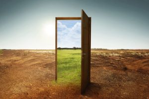 Open_wooden_door_to_the_new_world_with_green_environment._Climate_change_concept.