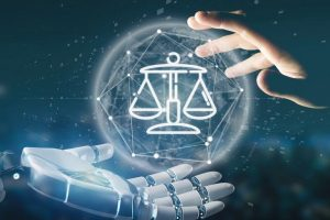 View_of_Cyborg_hand_holding_Cloud_of_justice_and_law_icon_bubble_with_data_3d_rendering