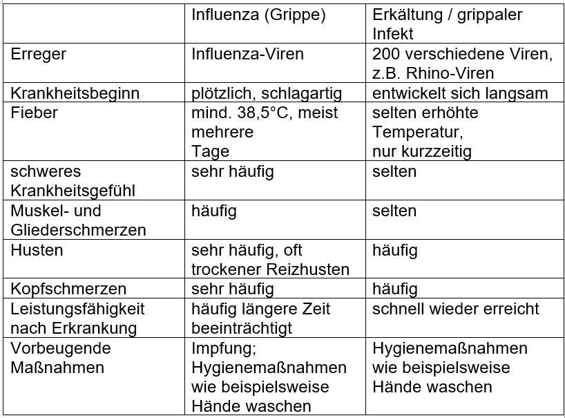 Unterschied Grippe Grippaler Infekt